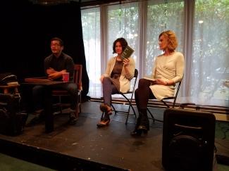 Michal Copperman, myself, and Deborah Meltvedt reading at Hugo House